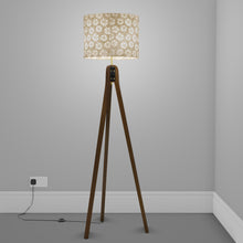 Sapele Tripod Floor Lamp - P75 - Batik Star Flower Natural