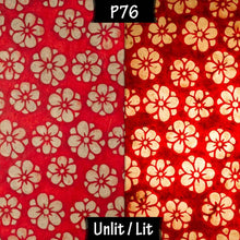 Square Lamp Shade - P76 - Batik Star Flower Red, 30cm(w) x 30cm(h) x 30cm(d) - Imbue Lighting