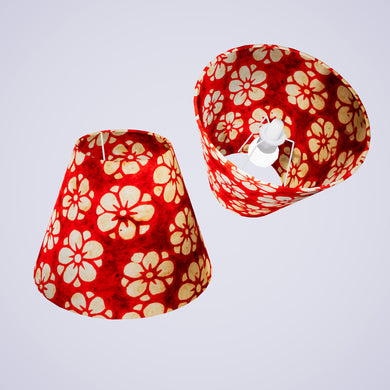 Conical Lamp Shade P76 - Batik Star Flower Red, 15cm(top) x 30cm(bottom) x 22cm(height)