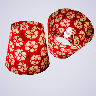 Conical Lamp Shade P76 - Batik Star Flower Red, 23cm(top) x 35cm(bottom) x 31cm(height)