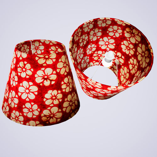 Conical Lamp Shade P76 - Batik Star Flower Red, 23cm(top) x 40cm(bottom) x 31cm(height)