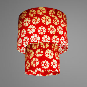 2 Tier Lamp Shade - P76 - Batik Star Flower Red, 30cm x 20cm & 20cm x 15cm