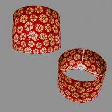Drum Lamp Shade - P76 - Batik Star Flower Red, 30cm(d) x 20cm(h)