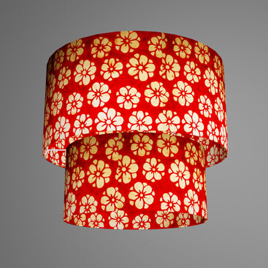 2 Tier Lamp Shade - P76 - Batik Star Flower Red, 40cm x 20cm & 30cm x 15cm