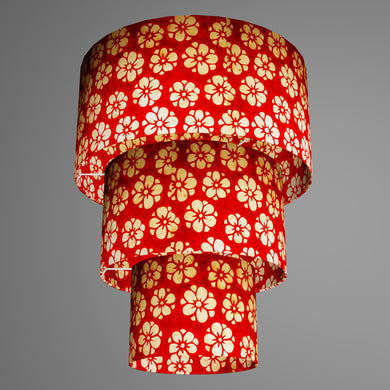 3 Tier Lamp Shade - P76 - Batik Star Flower Red, 40cm x 20cm, 30cm x 17.5cm & 20cm x 15cm