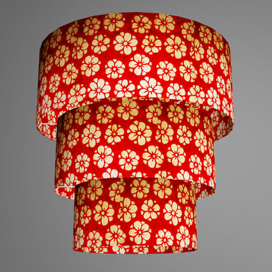 3 Tier Lamp Shade - P76 - Batik Star Flower Red, 50cm x 20cm, 40cm x 17.5cm & 30cm x 15cm