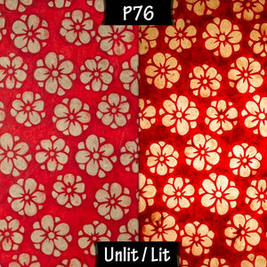 Oval Lamp Shade - P76 - Batik Star Flower Red, 20cm(w) x 20cm(h) x 13cm(d) - Imbue Lighting