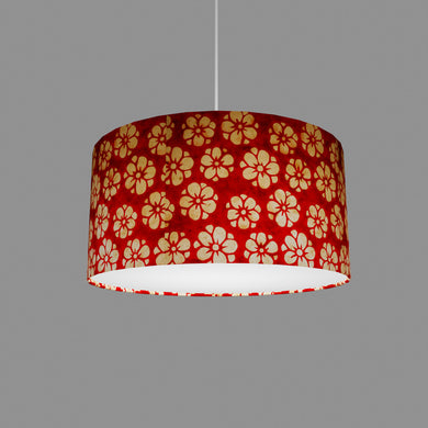 Drum Lamp Shade - P76 - Batik Star Flower Red, 40cm(d) x 20cm(h)