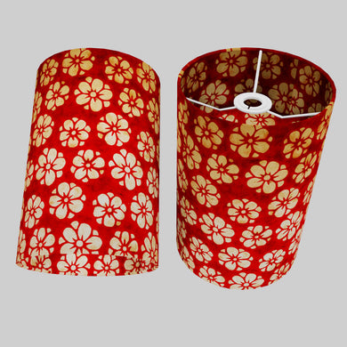 Drum Lamp Shade - P76 - Batik Star Flower Red, 20cm(d) x 30cm(h)