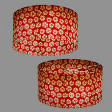 Drum Lamp Shade - P76 - Batik Star Flower Red, 60cm(d) x 30cm(h)