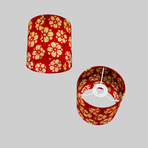 Drum Lamp Shade - P76 - Batik Star Flower Red, 15cm(d) x 15cm(h)