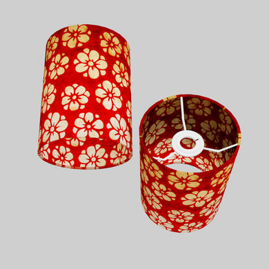 Drum Lamp Shade - P76 - Batik Star Flower Red, 15cm(d) x 20cm(h)