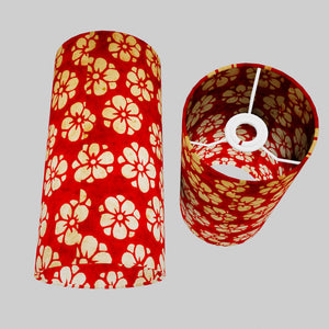 Drum Lamp Shade - P76 - Batik Star Flower Red, 15cm(d) x 30cm(h)