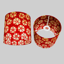 Drum Lamp Shade - P76 - Batik Star Flower Red, 20cm(d) x 20cm(h)