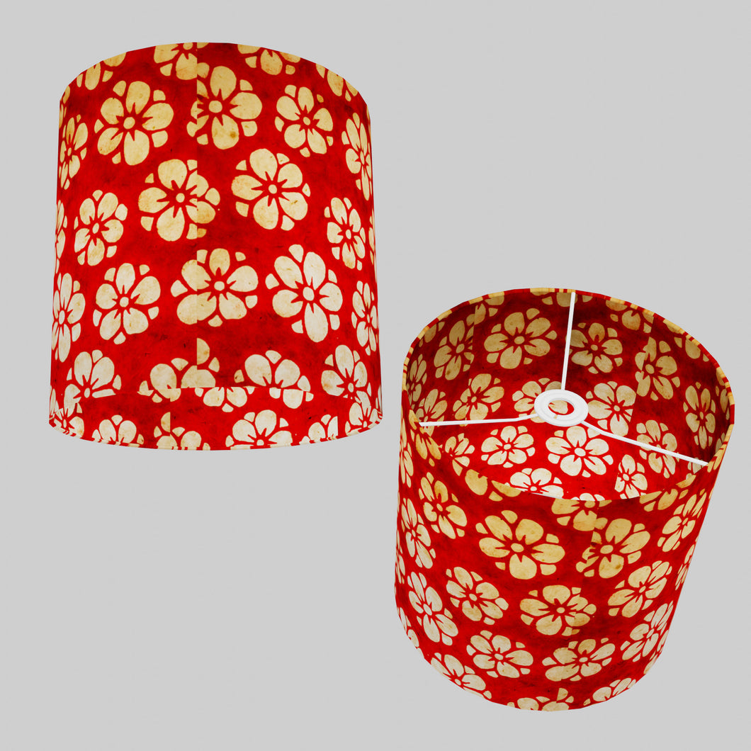 Drum Lamp Shade - P76 - Batik Star Flower Red, 30cm(d) x 30cm(h)