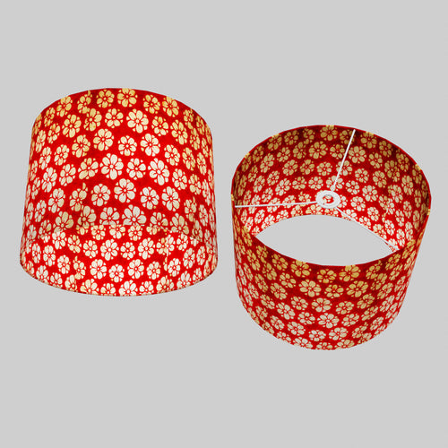 Drum Lamp Shade - P76 - Batik Star Flower Red, 40cm(d) x 30cm(h)