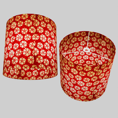 Drum Lamp Shade - P76 - Batik Star Flower Red, 40cm(d) x 40cm(h)