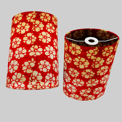 Oval Lamp Shade - P76 - Batik Star Flower Red, 20cm(w) x 30cm(h) x 13cm(d)