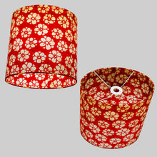 Oval Lamp Shade - P76 - Batik Star Flower Red, 30cm(w) x 30cm(h) x 22cm(d)