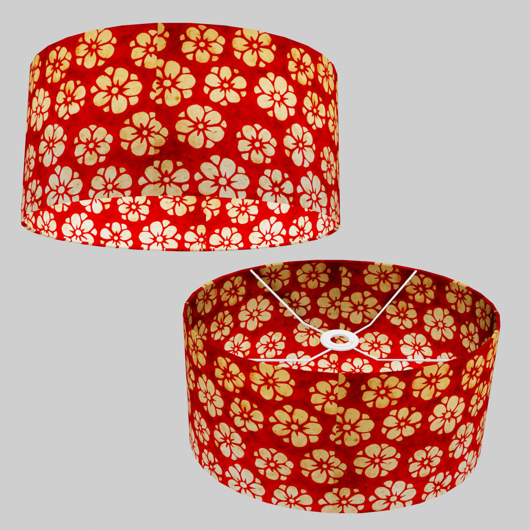 Oval Lamp Shade - P76 - Batik Star Flower Red, 40cm(w) x 20cm(h) x 30cm(d)