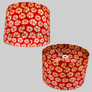 Oval Lamp Shade - P76 - Batik Star Flower Red, 40cm(w) x 30cm(h) x 30cm(d)