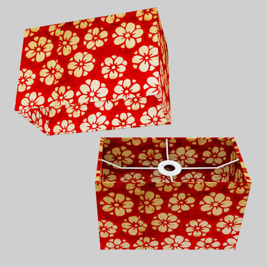 Rectangle Lamp Shade - P76 - Batik Star Flower Red, 30cm(w) x 20cm(h) x 15cm(d)