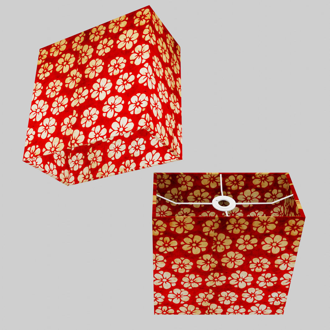 Rectangle Lamp Shade - P76 - Batik Star Flower Red, 30cm(w) x 30cm(h) x 15cm(d)