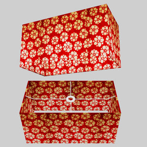 Rectangle Lamp Shade - P76 - Batik Star Flower Red, 50cm(w) x 25cm(h) x 25cm(d)