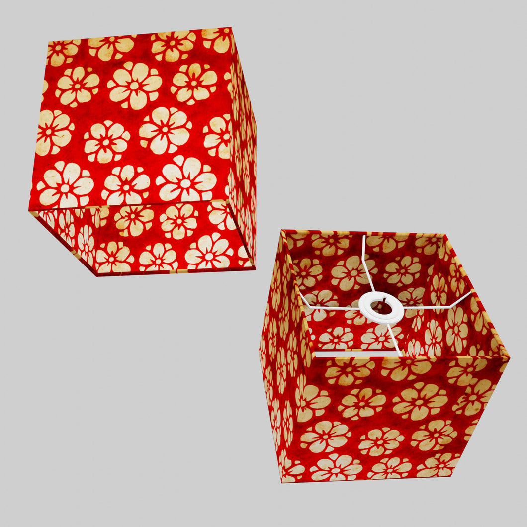 Square Lamp Shade - P76 - Batik Star Flower Red, 20cm(w) x 20cm(h) x 20cm(d)