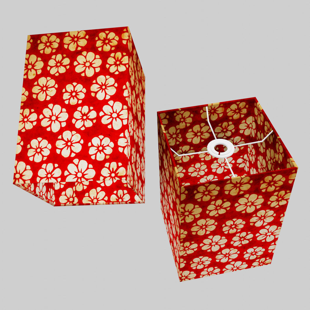 Square Lamp Shade - P76 - Batik Star Flower Red, 20cm(w) x 30cm(h) x 20cm(d)