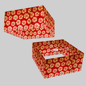 Square Lamp Shade - P76 - Batik Star Flower Red, 40cm(w) x 20cm(h) x 40cm(d)