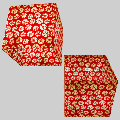Square Lamp Shade - P76 - Batik Star Flower Red, 40cm(w) x 40cm(h) x 40cm(d)
