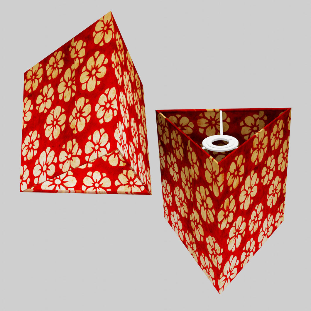 Triangle Lamp Shade - P76 - Batik Star Flower Red, 20cm(w) x 20cm(h)
