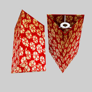 Triangle Lamp Shade - P76 - Batik Star Flower Red, 20cm(w) x 30cm(h)