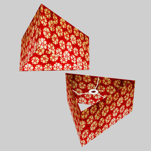 Triangle Lamp Shade - P76 - Batik Star Flower Red, 40cm(w) x 20cm(h)
