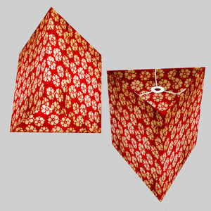 Triangle Lamp Shade - P76 - Batik Star Flower Red, 40cm(w) x 40cm(h)
