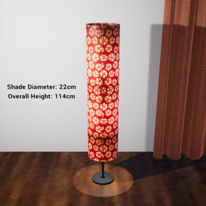 Drum Floor Lamp - P76 - Batik Star Flower Red, 22cm(d) x 114cm(h) - Imbue Lighting