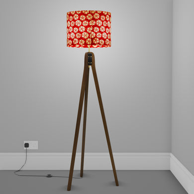 Sapele Tripod Floor Lamp - P76 - Batik Star Flower Red