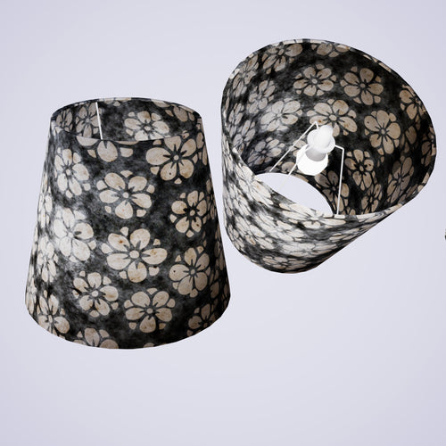 Conical Lamp Shade P77 - Batik Star Flower Grey, 23cm(top) x 35cm(bottom) x 31cm(height)