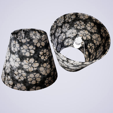 Conical Lamp Shade P77 - Batik Star Flower Grey, 23cm(top) x 40cm(bottom) x 31cm(height)
