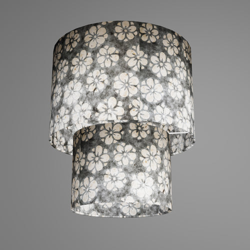 2 Tier Lamp Shade - P77 - Batik Star Flower Grey, 30cm x 20cm & 20cm x 15cm