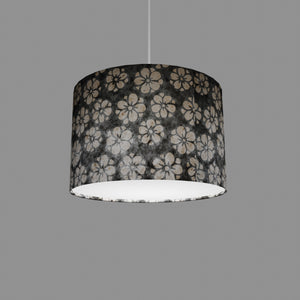 Drum Lamp Shade - P77 - Batik Star Flower Grey, 30cm(d) x 20cm(h)
