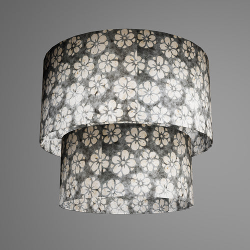 2 Tier Lamp Shade - P77 - Batik Star Flower Grey, 40cm x 20cm & 30cm x 15cm