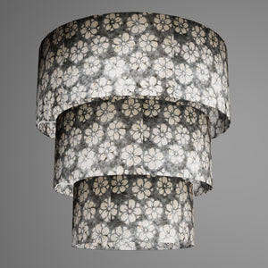 3 Tier Lamp Shade - P77 - Batik Star Flower Grey, 50cm x 20cm, 40cm x 17.5cm & 30cm x 15cm
