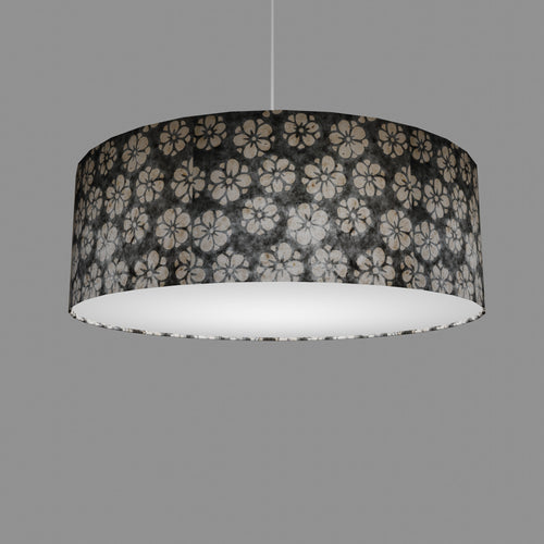 Drum Lamp Shade - P77 - Batik Star Flower Grey, 60cm(d) x 20cm(h)