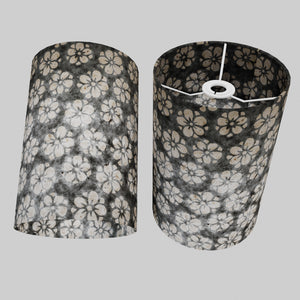 Drum Lamp Shade - P77 - Batik Star Flower Grey, 20cm(d) x 30cm(h)