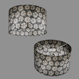 Drum Lamp Shade - P77 - Batik Star Flower Grey, 35cm(d) x 20cm(h)