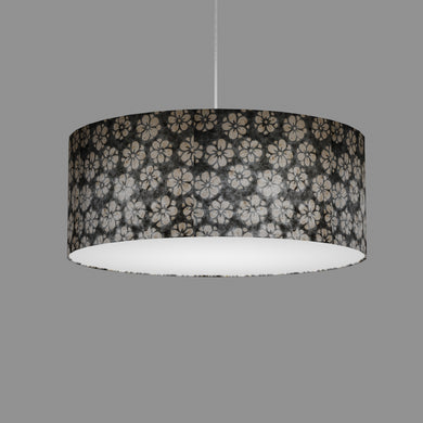 Drum Lamp Shade - P77 - Batik Star Flower Grey, 50cm(d) x 20cm(h)