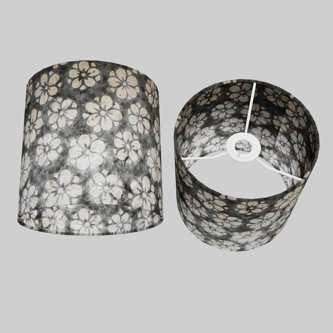 Drum Lamp Shade - P77 - Batik Star Flower Grey, 20cm(d) x 20cm(h)