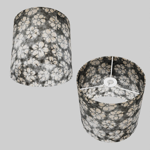 Drum Lamp Shade - P77 - Batik Star Flower Grey, 25cm x 25cm